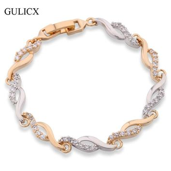 GULICX Brand Crystal CZ Hand Link Chain Bracelets for Women Yellow Gold Color Twisted Bangle Engagement Jewelry L140