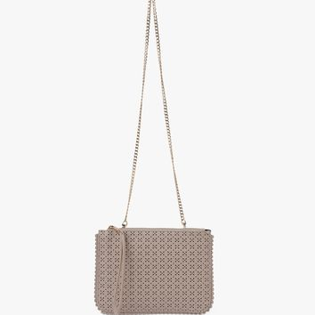 Lila Perforated Clutch