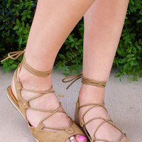Taylor Lace Up Sandals - Tan