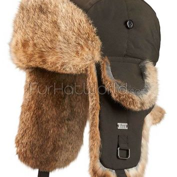 Autum Brown B-52 Aviator Hat with Rabbit Fur Ear Flaps