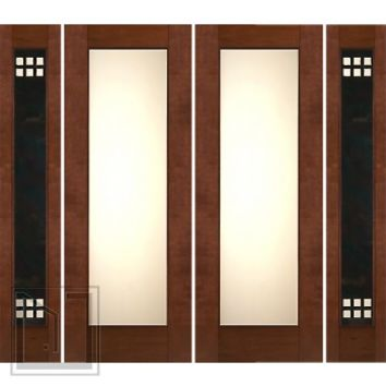 "Prehung Prehung 2-1/4"" Thick Mahogany Double Doors Heavy Iron Side Low-E Glass"