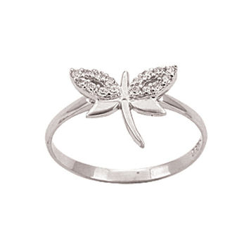 Dragonfly 14k Solid White Gold Ring Best Price