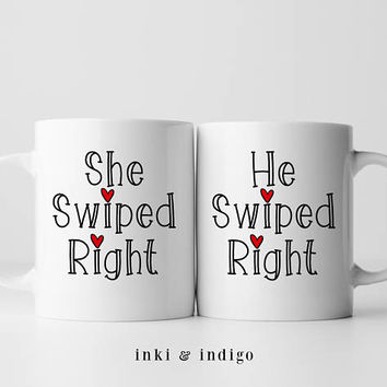 He Swiped Right / She Swiped Right - Coffee Mug Set, Ceramic Mug, Valentines Day, Couples Gift, Boyfriend, Girlfriend gift, Tinder Mug Set