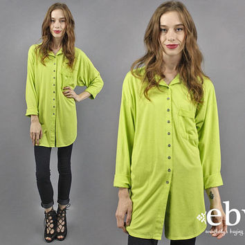 Lime Green Shirt Oversized Shirt Oversized 90s Shirt 1990s Shirt Oversized Top Button up Shirt 90s Limited Express Neon Shirt M