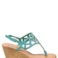 Twisted Perforated Wedge Sandals