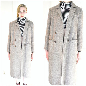 long HERRINGBONE wool coat vintage 70s 1970s NEUTRAL minimalist menswear inspired DUSTER jacket medium os