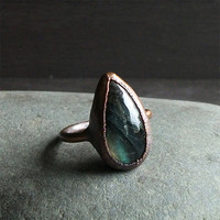 Labradorite Ring Gemstone Ring Renaissance Blue Flash Cocktail Ring Rough Stone Size 9 Handmade For Her Artisan