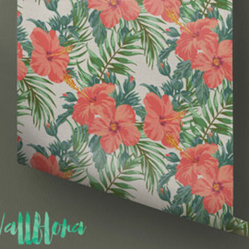 Blooming Jungle Wallpaper - Removable Wallpaper - Tropical Wallpaper - Exotic Wall Sticker - Exotic Wall Decal - Jungle Adhesive Wallpaper