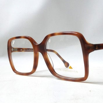 vintage 1980's liz claiborne eyeglasses prescription brown plastic tortoise shell frames oversized square eye glasses modern retro womens