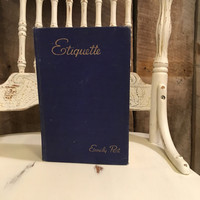 Vintage Etiquette Book Emily Post, Blue Book of Social Usage, Vintage Book, Classic Books, Blue Spine