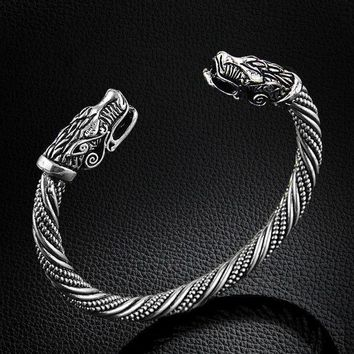 ac spbest LAKONE Teen Wolf Head Bracelet Indian Jewelry Fashion Accessories Viking Bracelet Men Wristband Cuff Bracelets For Women Bangles