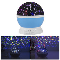 Room Novelty Night Light Projector Lamp Rotary Flashing Starry Star Moon Sky Star Projector for Kid Children Baby Gift HT206-208