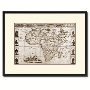 Africa Vintage Sepia Map Canvas Print, Picture Frame Gifts Home Decor Wall Art Decoration