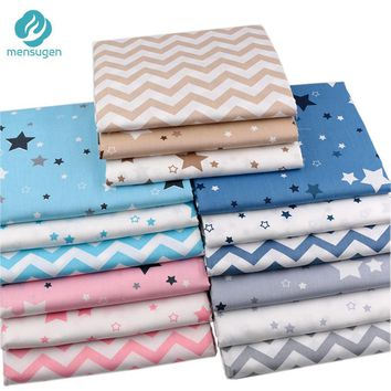 Mensugen Stars Chevron 100% Twill Cotton Fabric by Meters for Patchwork Quilting Baby Bedding Blanket Sewing Cloth Material