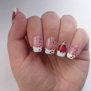 Red Christmas Hat Glue On False Nails / French Tip Santa Press on Square / Negative Space / Red Glitter Nails / Gel / Xmas Holidays Nails