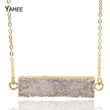 Stone Necklace 2017 New Summer Fashion 24k Gold Plating Natural Druzy Agates Pendants Necklaces Titanium Quartz Drusy Necklace