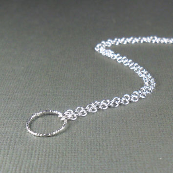 Minimalist Anklet with Textured Hoop in Sterling Silver 925 Summer Jewellery