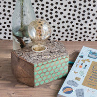 Wood lamp with mint polka dots, modern