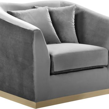 Arabella Grey Velvet Chair