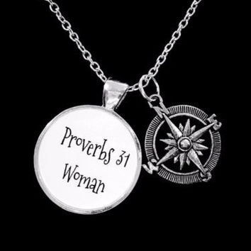 Compass Proverbs 31 Woman Scripture Inspirational Friend Sisters Gift Necklace