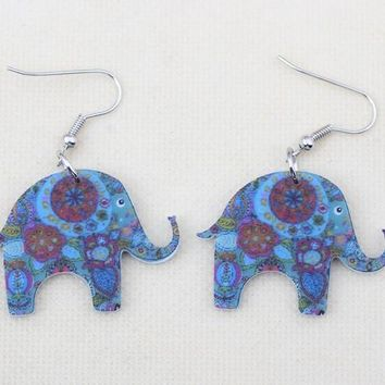 Cute elephant lovely printing drop earrings acrylic new design spring/summer style for girls woman jewelry