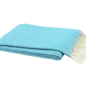 Italian Herringbone Throw Turquoise by Lands Downunder