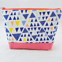 Pastel triangle cosmetic case, mint green, coral, blue, yellow, and aqua makeup bag, pencil case, zipper pouch, clutch, jewelry bag,