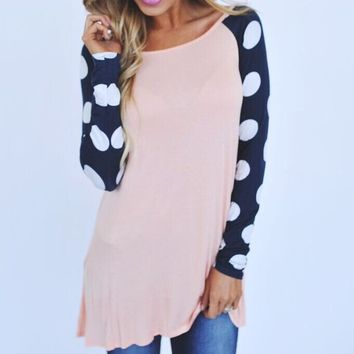 Casual Color Block Polka Dot Printed Long Sleeve Sweat Shirt