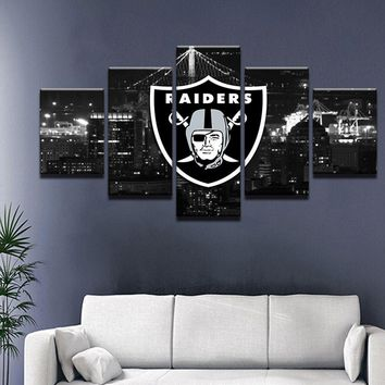 5 piece  canvas printed Oakland Raiders Sport Flag Logo Fans painting for living picture wall art  decor modern artworks poster