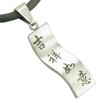 Amulet Good Luck, Magic Protection Pendant Necklace on Black Leather Cord