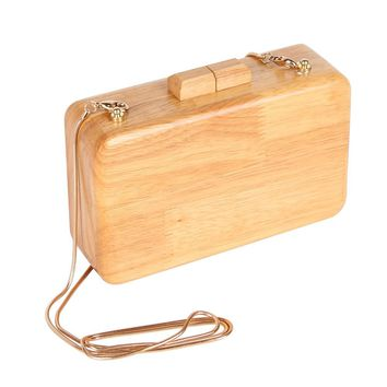 Fashion Brand Wooden Day Clutch Women Evening Bags Chain Handbags Party Wedding Purses Banquet Shoulder Bags bolsas mujer