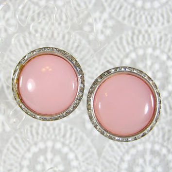Vintage Button Earrings, Pink Lucite Cabochons, Channel Set Rhinestones, Designer LISNER, Clip-ons, 1950s Mad Men, Romantic Jewelry