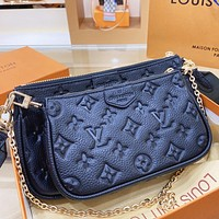 LV New fashion monogram print leather shoulder bag crossbody bag three piece bag Black