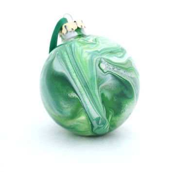 OOAK Glass Christmas Ball Hand Painted Inside Large Ornament Green White Holiday Decor