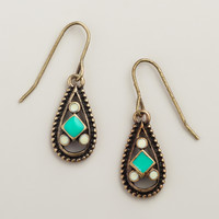 GOLD AND TURQUOISE SMALL DROP EARRINGS