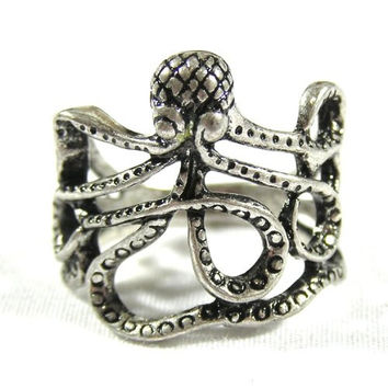 Octopus Ring Size 4 Sea Monster Squid Kraken Steampunk RH03 Antique Silver Tone Fashion Jewelry