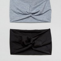 ASOS Pack of 2 Black and Gray Marl Twist Headbands at asos.com