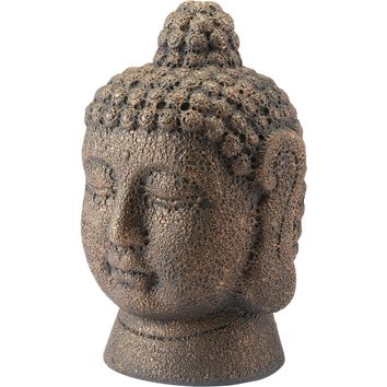 Antique Copper Buddha Head Figurine