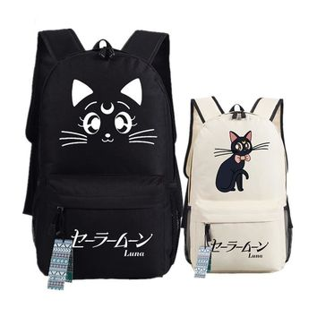 Anime Sailor Moon Kawaii Cat Luna Emoji Printing Women Backpack Mochila Feminina Canvas School Bags Laptop Backpack Rucksack