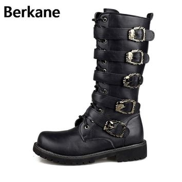 Men Military Leather Combat Metal Buckle Boots