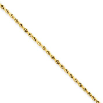 1.5mm 14k Yellow Gold, D/C Rope Chain Necklace