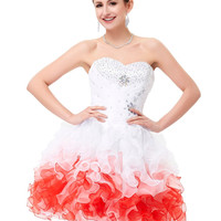 Short Puffy Prom Dresses Grace Karin Strapless Knee Length Ball Gown Party Dress Organza Beaded Wedding Special Occasion Dress