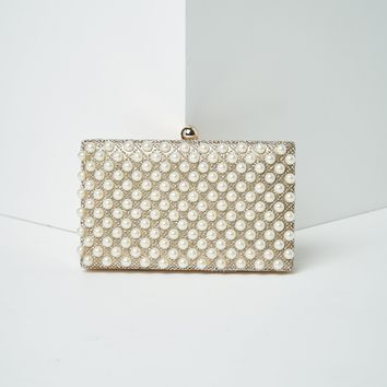 Faux Pearl Studded Hard Clutch