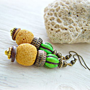 African Earrings - Boho Hippie Earrings - Tribal Earrings - Lava Bead Earrings - Ethnic Earrings - Boho Jewelry - Boho Earrings