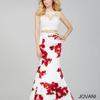 Jovani Floral 2 Piece Dress- White/Print