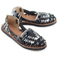 Women's Black & White Woven Leather Huarache Sandal