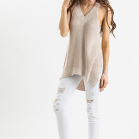 Mallory Taupe Sleeveless Halter Sweater