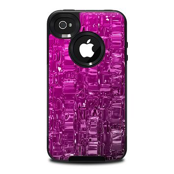The Pink & White Vector Zebra Print Skin for the iPhone 4-4s OtterBox Commuter Case