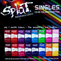 Splat Singles Hair Color Dye Foil Packs 1.5 Oz Semi-permanent Color Colour
