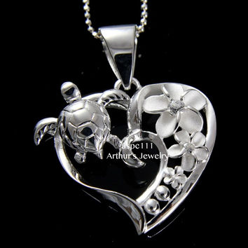 SILVER 925 HAWAIIAN CZ PLUMERIA FLOWER SEA TURTLE HONU HEART PENDANT
